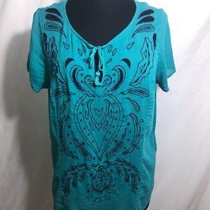 Lucky Brand Blue Green Top Size 1X